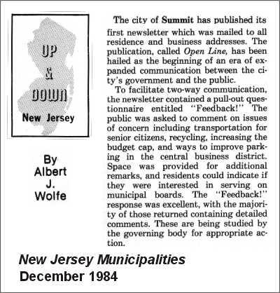 [New Jersey Municipalities, December 1984]