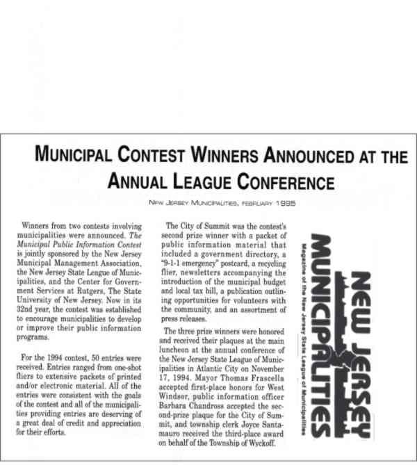 [New Jersey Municipalities, February 1995]